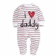 Unisex Baby Girl Boy I Love Mummy Daddy Onesies Jumpsuit Long Sleeve Bodysuit