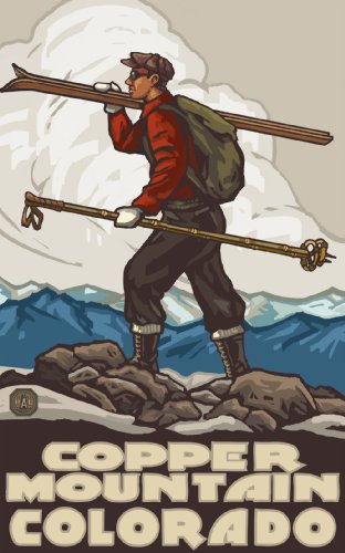 Northwest Art Mall Copper Mountain Colorado Skier Carrying Skis SCS Wall Art by Paul A. Lanquist, 11-Inch by 17-Inch