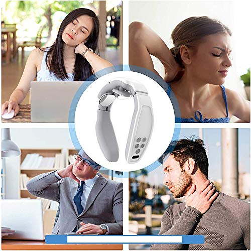 gdfh Neck Massager, Intelligent Neck Massge with Heat, Portable Cordless Massage Equipment, 6 Modes Electric Pulse Massage for Mom Wife Women Men Dad