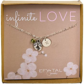 amazon com baby feet necklace w personalized initial and birth