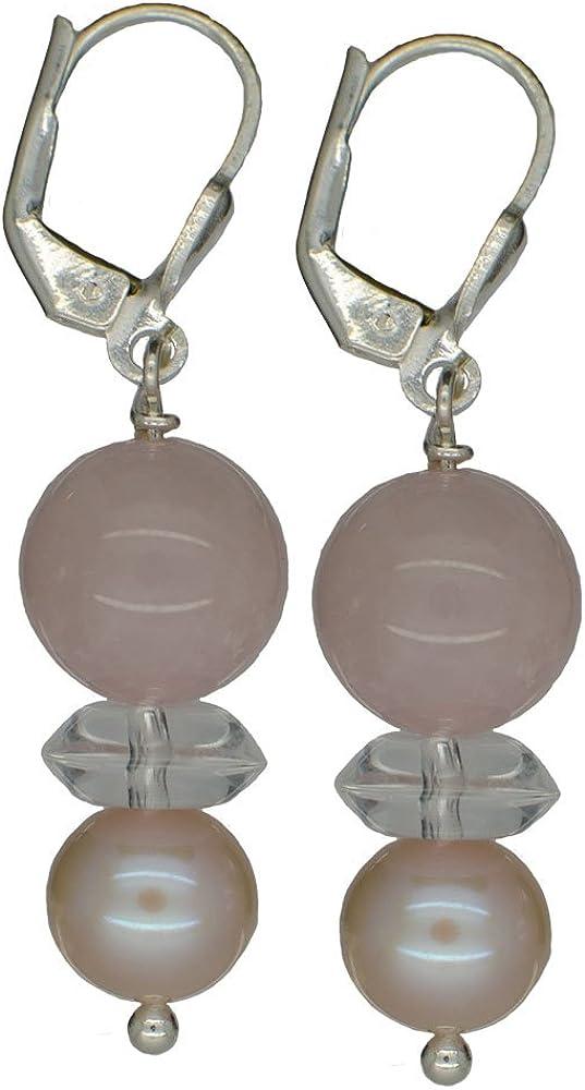 I de Be, cuarzo rosa, cristal de roca, perlas de agua dulce Pendientes de piedras preciosas 925plata, longitud 4,2cm, en estuche de regalo, 381153150768