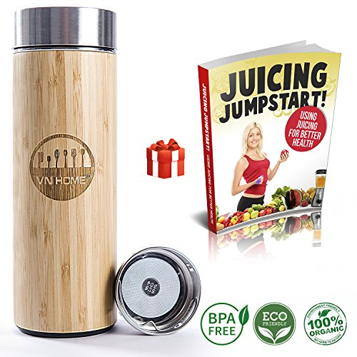 VNHOME Bamboo Tea Infuser Tumbler Bottle 17 Oz – BPA Free