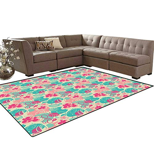 Floral Door Mats Area Rug Retro Vibrant Beauty Branches Swirls Honeysuckle Blooms Ornament Design Anti-Skid Area Rugs 6