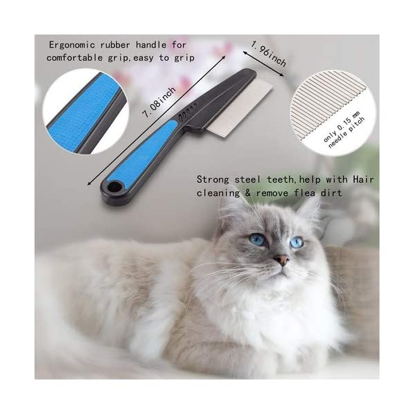 Flea Comb,Pet Comb Laiannwell Professional Grooming Comb for Dog/Cat/Small Pets (3 Packs) 2