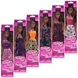 African-American Fashion Dolls: Set of 6 with different outfits. Introduce them to your Barbie collection. Great favors for Birthday Parties, group play or gift giving. By TBC Home Decor.