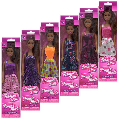 African-American Fashion Dolls: Set of 6 with different outfits. Introduce them to your Barbie collection. Great favors for Birthday Parties, group play or gift giving. By TBC Home Decor. by Fashion Doll