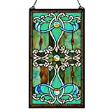 26''H Tiffany Style Stained Glass Brandi's Window Panel - Green