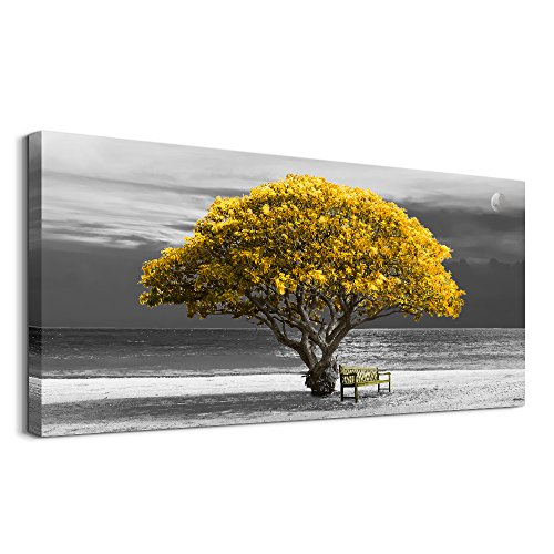 wall art for living room Decorations Photo Prints - panoramic black and white with yellow trees The moon scenery - Modern Home Decor The room Stretched and Framed Ready to -