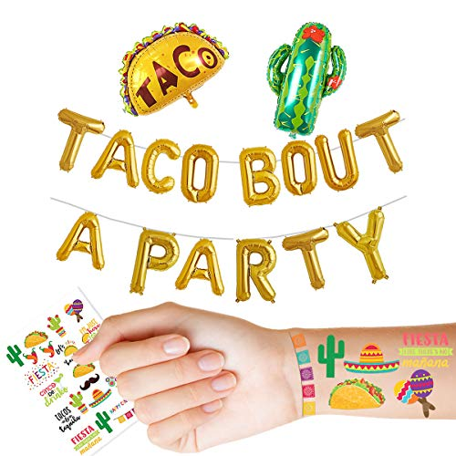 16 Gold Foil Balloon Taco Bout A Party Cactus Balloons Engagement Bachelorette Birthday Taco Shower Fiesta Party Theme Baby Shower Pregnancy Announcement Ideas Mexican Tattoos Fiesta Theme Supplies