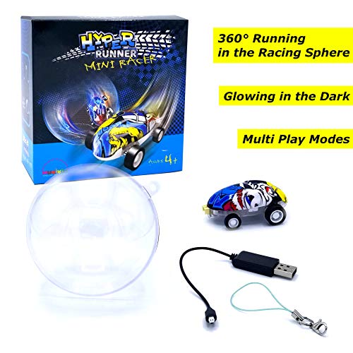 (Hyper Runner - Mini Racer - Micro Race Car Performs High-Speed Stunts with Multiple Play Modes! 360° Running in Any Bowl-Shaped Items! New Glowing Fidget Toy Promotes Stress Relief. USB Charging)