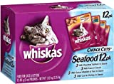 Whiskas Choice Cuts Seafood Variety Pack (Tuna, Whitefish and Tuna, Salmon, Cod and Shrimp) Food for Cats and Kittens, 3-Ounce Pouches (Pack of 48), My Pet Supplies