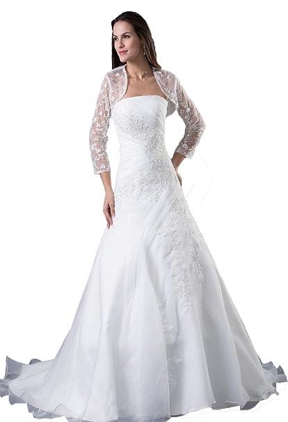 Amazon.com: DZdress - Vestido largo de boda para mujer, sin ...