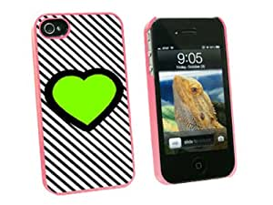 Graphics and More Big Green Love Black Stripes - Snap On Hard Protective Case for Apple iPhone 4 4S - Pink - Carrying Case - Non-Retail Packaging - Pink