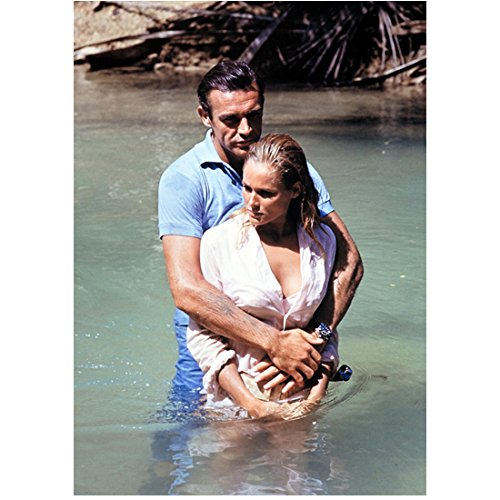 Sean Connery as James Bond Holding Sexy Ursula Andress as Honey Ryder in Dr. No Darker Contrast 8 x 10 Inch Photo