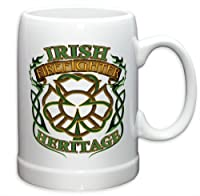 German Beer Stein - Firefighter Gifts for Men or Women - Irish Heritage Stoneware Beer Stein - Firefighters Beer Glass with Logo (20 Ounces)