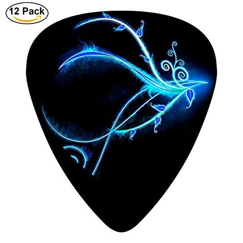 Electric Neon Swirl (Gufun Guitar Picks Blue Neon Light Swirls Custom Three Size Electric Celluloid Plectrums (12-Pack))