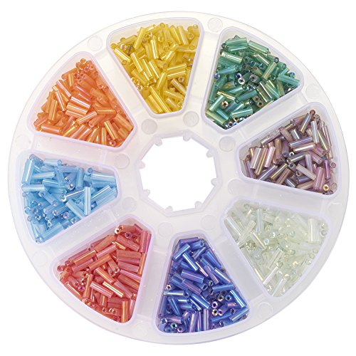 Color Mixed Beads (Pandahall 1 Box Mixed Color 6mm Transparent Rainbow Glass Bugle Beads, AB Color, about 103g)