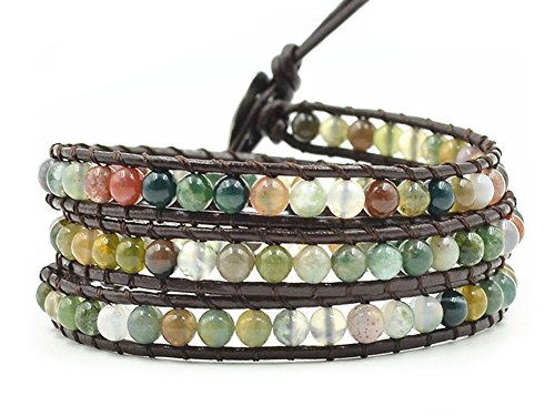 MO SI YI Multi-Layer Braided Leather Wrap Bracelet with Multi-Color 4mm Rounded Agate Beads (3 wrap)