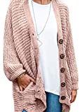 Women's Long Sleeve Button Down Oversized Open Front Cardigans Loose Chenille Knit Sweater Coat Casual Outwear Pocket Pink XXL 20 22