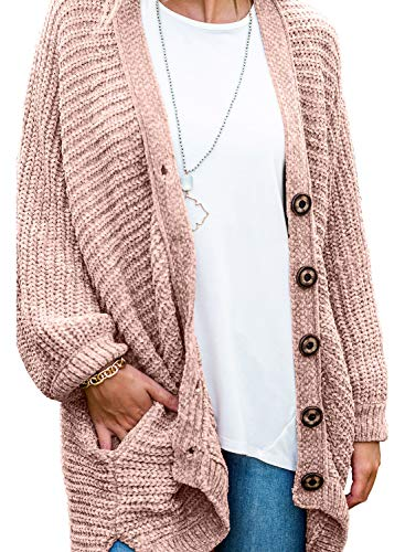 Women's Long Sleeve Button Down Oversized Open Front Cardigans Loose Chenille Knit Sweater Coat Casual Outwear Pocket Pink L 12 14