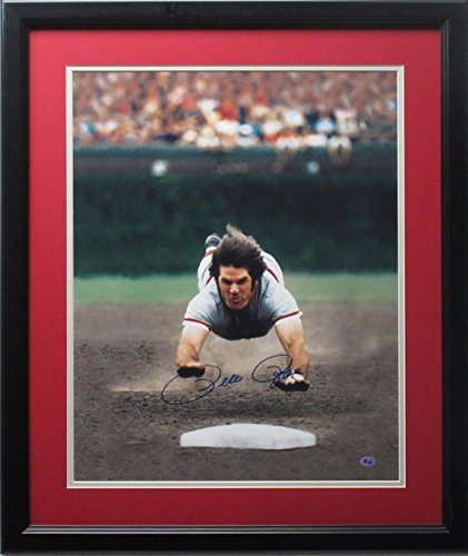 Pete Rose Signed Picture - 16x20 Color Dive framed - Autographed MLB Photos