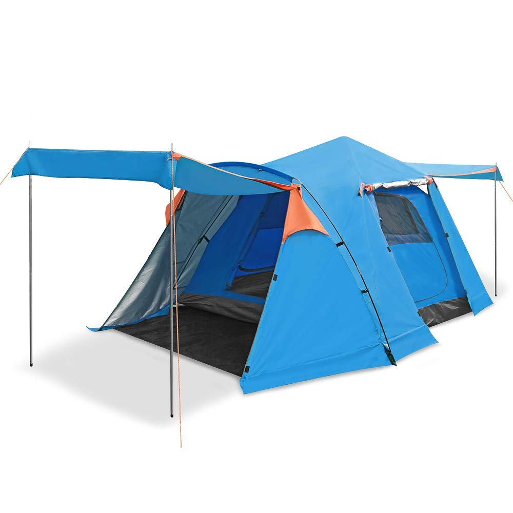 SESAME STAR Instant Pop Up Tent 2 3 4 Person Camping Tent Four-Door Automatic Opening Tent (Blue) [並行輸入品] B07R4WHHRW