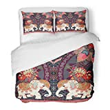 SanChic Duvet Cover Set Happy Birthday in Thai Indian Lovely Elephants Peacocks Sun Mandala Paisley Border Decorative Bedding Set 2 Pillow Shams King Size