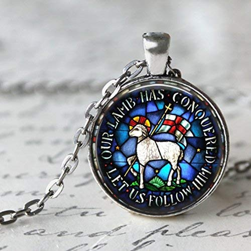 - Lamb of God Stained Glass Image Pendant - Beautiful Easter Gift