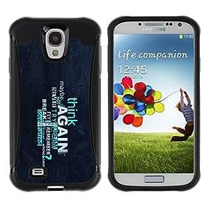 LASTONE PHONE CASE / Suave Silicona Caso Carcasa de Caucho Funda para Samsung Galaxy S4 I9500 / Think Again Deep Message