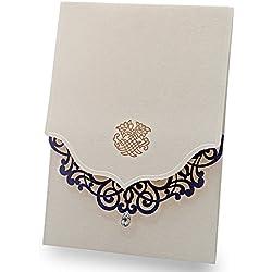 Doris Home Vertical Beige Laser Cut Blue Flower with Rhinestone Wedding Invitations Cards Laser Cut Flower,CW502 (50)