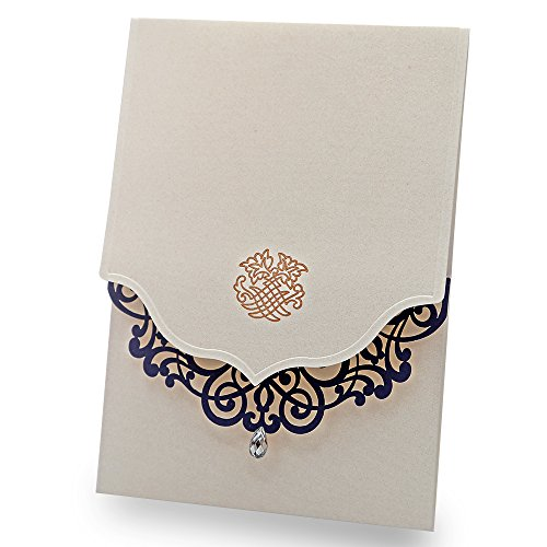 Doris Home 50 pcs Vertical Beige Laser Cut Blue Flower with Rhinestone Wedding Invitations Cards Laser Cut Flower