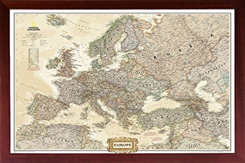 - Map of Europe Perfect for Push Pins Framed Mounted in Solid Wood Walnut Brown Crafted in USA