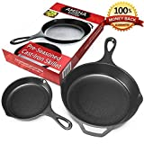 Pre-Seasoned Cast Iron Skillet 2 Piece Set (12.5 inch & 8 inch Pans) Best Heavy Duty Professional Restaurant Chef Quality Pre Seasoned Pan Cookware Set - Great For Frying, Saute, Cooking Pizza & More