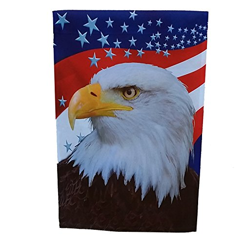 (GiftWrap Etc. Veterans Day Patriotic House Flag - Red, White Blue Stars, Eagle, U.S.A, Garden Decorations Fourth of July, Memorial Day, Large 28