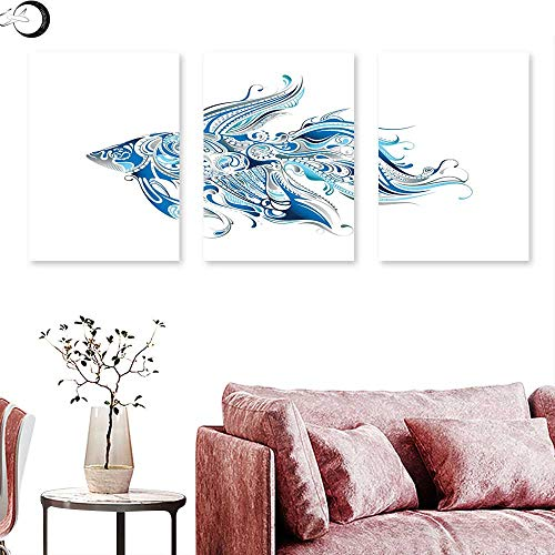 J Chief Sky Fish Digitally Printed Abstract Betta Splenden in Shades of Blue with Bohemian Pattern Swirling Effect Triptych Wall Art Blue Azure Blue Triptych Art Canvas W 16