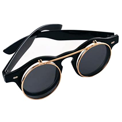 Simwood trade; NEW Steampunk Goth Goggles Glasses Retro Flip Up Round Sunglasses Vintage Brown