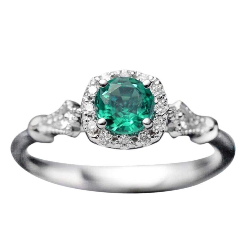 Sinwo Women Vintage Beautiful White Diamond Engagement Wedding Band Ring Gift (6, Green)