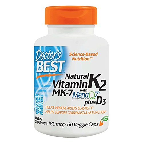 Doctor's Best Natural Vitamin K2 with MK-7, 180mcg Plus D3 1000IU, Non-GMO, Gluten Free, Vegetarian, Soy Free, 60 Veggie Caps