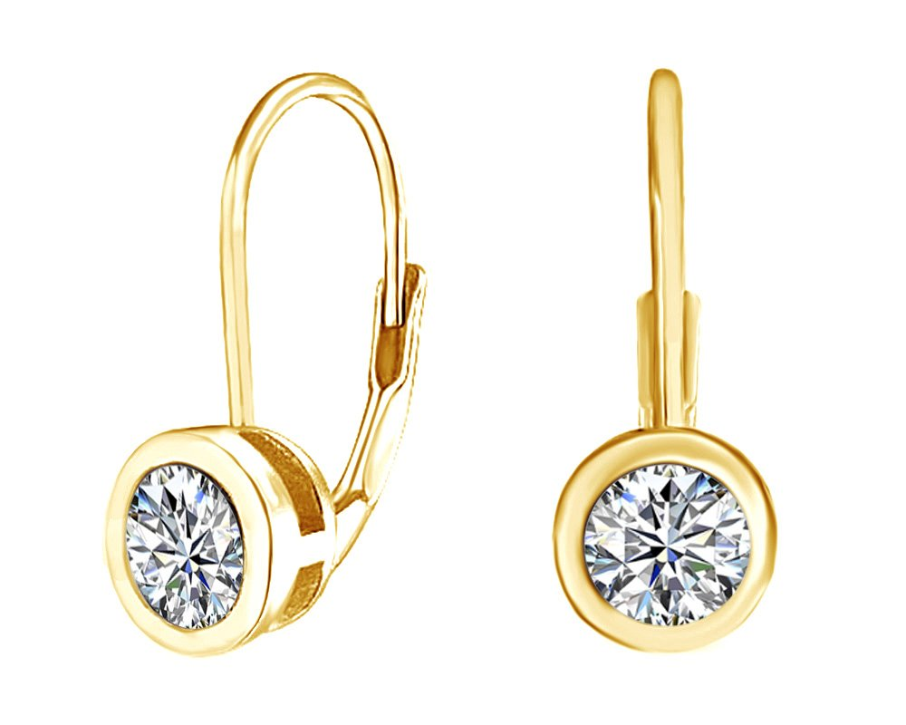 Simulated Cubic Zirconia Solitaire Leverback Drop Earrings 14K Yellow Gold Over Sterling Silver