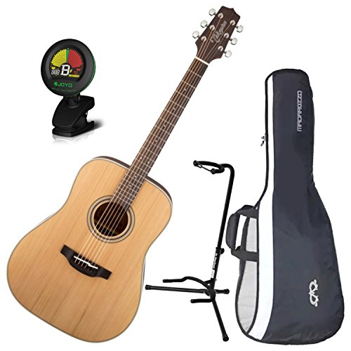 Takamine GD20-NS Satin Natural Acoustic Guitar Dreadnought Cedar Top w/ Gig Bag, Stand, and Tuner