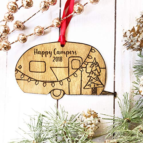 Happy Camper Ornament, Trailer with Christmas Lights Rustic Wooden Laser Engraved with Gift Box Airstream ()