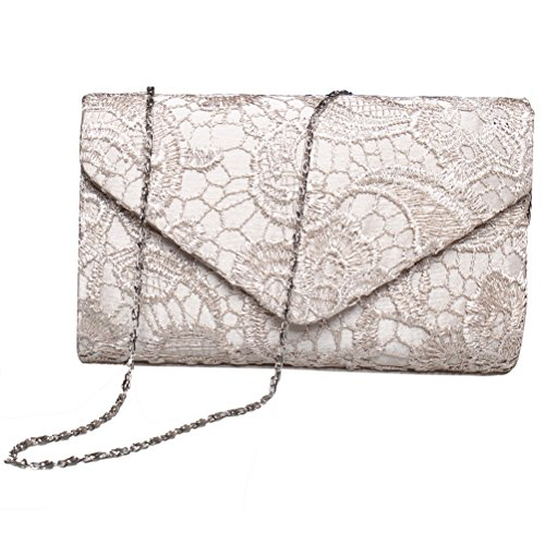 Party Purses And Floral Wedding BaoLan Clutch Evening For Envelope Lace Clutch Apricot Womens gc0PcA