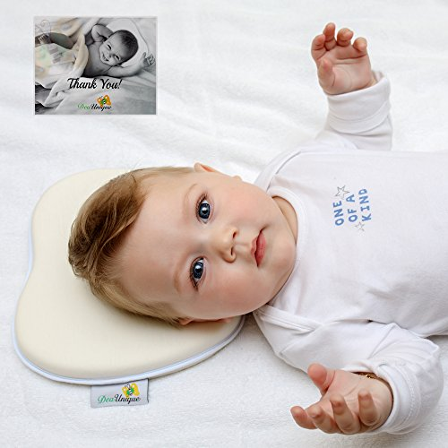 DeaUnique Baby Pillow Memory Foam, Head Shaping & Bamboo Pillow Cover. Newborn Head Support Pillow Prevent Flat Head Syndrome or Plagiocephaly.Soft and Breathable, Infant Sleeper Pillow. White. (Foam Nursing Pillow)