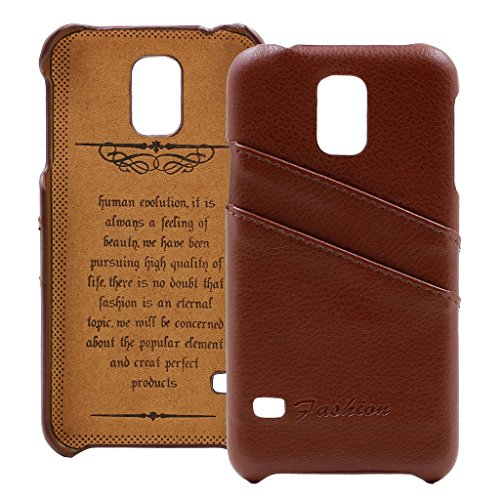 Leather Mobile Phone Covers (Galaxy S5 Case, AIYZE Mobile Phone Cover Flip Samsung Galaxy S5 Case Premium Genuine Leather Back Case with Credit Card ID Holder Brown)