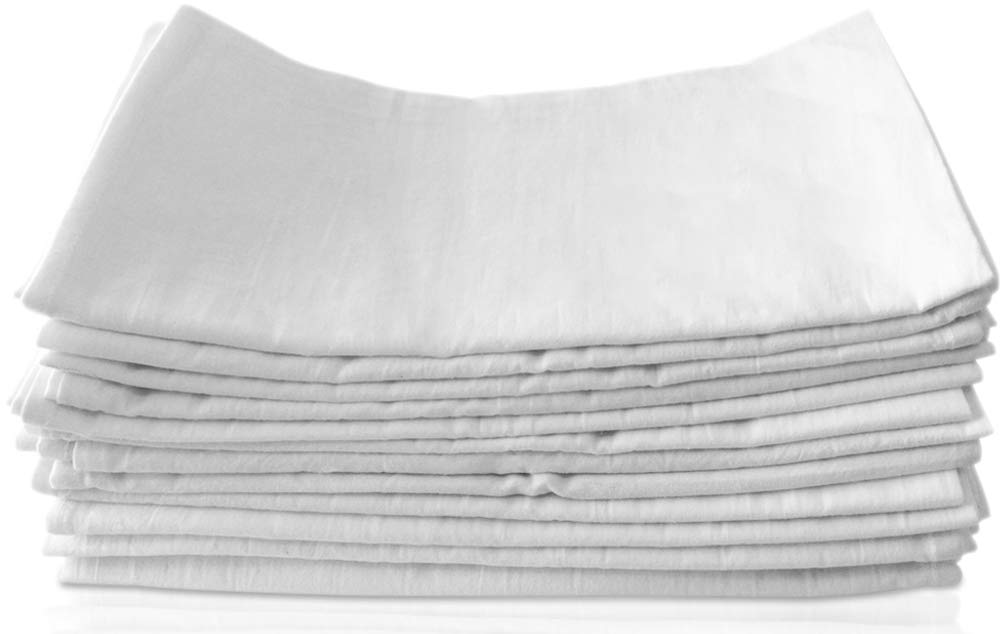"Bosubari Flour Sack Tea Towels – 2 Dish Cloths Value Pack - 100% Ring Spun - Bright White, High-Absorbency 27'x 27"" Kitchen Towel Squares - Heavyweight Quality Cotton Dish Towel w/ Hanging Loop"