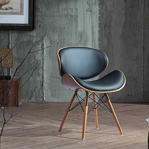 Corvus Madonna Walnut and Black Finished Contemporary Bent Look 30-inch Mid-century Style Chair (2 Pack) ()