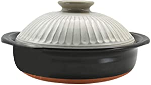 FCSFSF Stovetop Ceramic Cookware,Clay Rice Cooker,Round Ceramic Casserole,Japanese Donabe Hot Pot,Stockpot,Heat-Resistant Earthenware Rice Pot,Slow Stew Pot C 1.9l