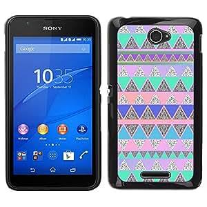 Caucho caso de Shell duro de la cubierta de accesorios de protección BY RAYDREAMMM - Sony Xperia E4 - Native American Pattern Pink Teal