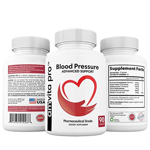 Advanced Blood Pressure Support Formula - Improved Bioavailability - Passion Flower and American Ginseng Blend and CoQ10 for Healthy Heart - 90 Capsules