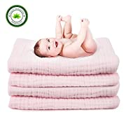 """FIRSTBABY Soft Muslin Baby Bath Towel   Organic Cotton 6x as Thick, Soft & Water Absorbent   Hypoallergenic, Care for Sensitive Skin   Dry and Warm   43x47""""Size for Newborn Infant and Toddlers, Pink"""